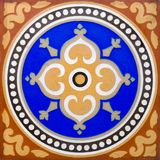 Encaustic Tile. An antique flooring tile in the Arts & Crafts style dating around 1880 Royalty Free Stock Photography