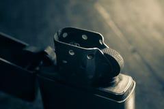 Encendedor del metal del primer, vintage filtrado Foto de archivo libre de regalías