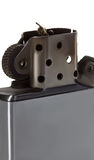 Encendedor del metal plateado aislado Imagenes de archivo