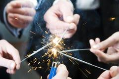 Encendido de los palillos de la chispa Foto de archivo libre de regalías