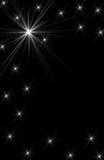 Encendido del diseño blanco de la estrella en fondo negro Fotos de archivo