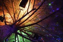 Encendiendo el árbol de navidad dentro Juguetes de la Navidad de la noche Árbol de navidad vestido en la calle Foto de archivo libre de regalías