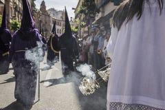 Encensoir de l'argent ou de l'alpaga pour brûler l'encens pendant la semaine sainte, station thermale Photographie stock libre de droits