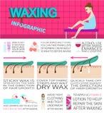 Encerando o infographics Informação e fatos sobre a remoção do cabelo imagem de stock