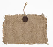Encere o selo no material do sackcloth Fotos de Stock