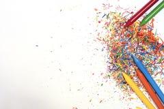 Encere pinturas em cores brilhantes no fundo branco com co Imagem de Stock Royalty Free