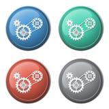 Enchaînez avec l'icône de roues dentées Image stock