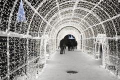 Enchant bożonarodzeniowe światła labirynt i Wprowadzać na rynek Zdjęcie Stock