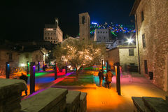 Enchanted atmosphere at christmas market of Gubbio Stock Photography
