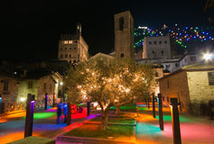 Enchanted atmosphere at christmas time in the medieval village of Gubbio Royalty Free Stock Photo