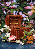 Enchanted Basket. Enchanted Little Box in a Garden Setting. Good Photography prop for fairy themed photography royalty free stock photos