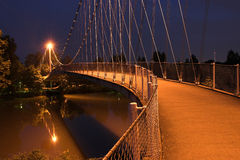 Enchanted bridge at night. Royalty Free Stock Photo