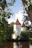 Enchanted Castle. Castle, hidden behind a lake between trees royalty free stock photos