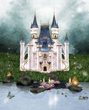 Enchanted castle. Magic castle in an enchanted scenery Stock Photo