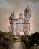 Enchanted castle. Castle in a beautiful garden Stock Image