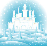 Enchanted castle in frozen forest. Happy New Year and Merry Christmas vector illustration. With snowflakes, snowbanks, fir trees vector illustration