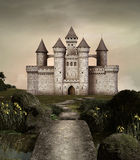 Enchanted castle. Castle in an enchanted garden Royalty Free Stock Image