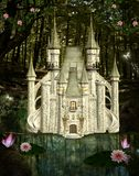 Enchanted castle. In the middle of the forest Stock Images