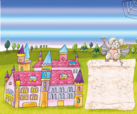 Enchanted castle with mouse and scroll. Magic landscape with witch vector illustration