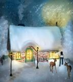 Enchanted chalet in a winter scenery royalty free illustration