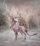 Enchanted elk. In a winter forest Stock Photo
