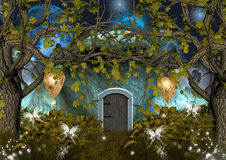 Enchanted elves house. An incredible illustration, a secret house in the middle of the forest Royalty Free Stock Image