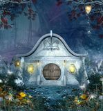 Enchanted elves house by night in a magic forest. Enlighted by magic lanterns - 3D illustration stock illustration