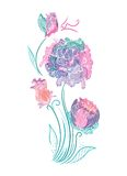 Enchanted Flowers Vignette in Pink and Mint Colors Royalty Free Stock Images