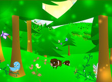 Enchanted forest. Illustration of an enchanted forest with animals and fairy stock illustration