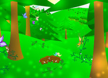 Enchanted forest. Illustration of an enchanted forest with animals and fairy vector illustration