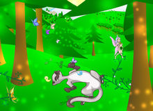 Enchanted forest. Illustration of an enchanted forest with animals and fairy royalty free illustration