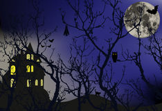 Enchanted forest. With animals that hide and a large moon behind the branches of trees, illustration stock illustration