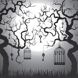 Enchanted forest. With gnarled trees and cages at Halloween night vector illustration