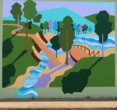 Enchanted Forest Mural On James Road in Memphis, Tennessee. Stock Images