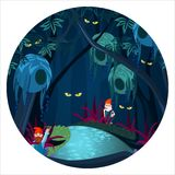 Enchanted forest with mysterious creatures, ghosts and gnomes. Ominous glowing eyes in dark, mystery wood at night vector illustration in circle royalty free illustration