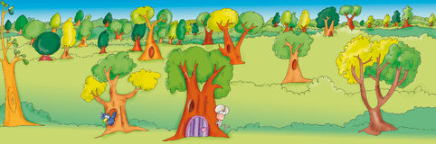 The Enchanted Forest. With rat behind a tree stock illustration