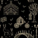 Enchanted forest. Seamless pattern with vintage gate, lantern, carriage, bridge, tree, chest, cage, mirror, deer. Fairy tale theme. Collection of decorative Stock Images