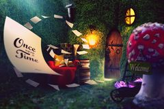 Enchanted forest, gnomes home stock photography