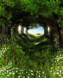 Enchanted Forest in Summer. 3D painting of a beautiful scenic view through an enchanted forest in summer Royalty Free Stock Image