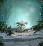 Enchanted fountain in the middle of a dark forest. Mysterious resting place with a fountain in the enchanted forest – 3D illustration royalty free illustration