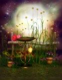 Enchanted garden. With bird bath Stock Photos