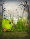 Enchanted garden with pram Royalty Free Stock Images