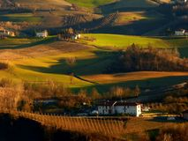 Enchanted hills Langhe Piedmont Italy Europe. Vineyards and green fields Langhe Piedmont Italy Europe Stock Image
