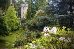Enchanted Irish castle and garden. Battlements and tower of a medieval Irish castle and garden, County Wicklow, Ireland Royalty Free Stock Image