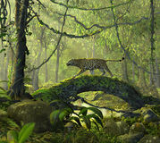 Enchanted Jungle Forest with a Panther Cat. 3D render of a beautiful enchanted jungle forest with an alert panther cat crossing a pond Stock Image