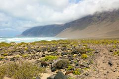 Enchanted landscape on Lanzarote Islands with stone and green yellow vegetation with Atlantic Ocean. And misty mountain on the background, Canary Islands royalty free stock images