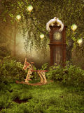 Enchanted meadow with a clock Stock Images