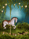 Enchanted meadow with a horse Royalty Free Stock Image