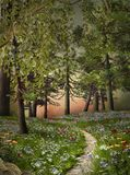 Fantasy walking path with meadow flowers stock illustration