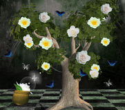Enchanted nature series - tree of the roses. An enchanted illustration: a beautiful tree with different kinds of roses and butterflies all around Royalty Free Stock Photography